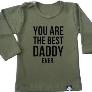 baby tshirt best daddy lange mouw khaki