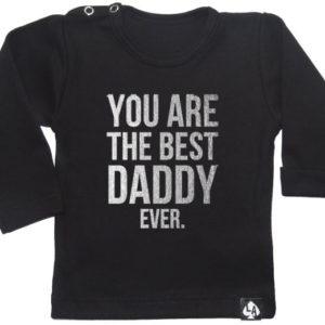 baby tshirt best daddy lange mouw zwart