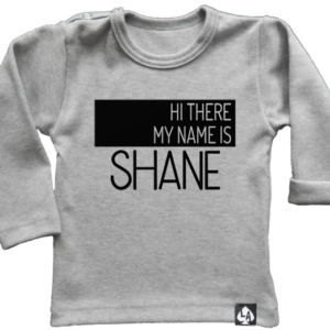 baby tshirt grijs custom naam