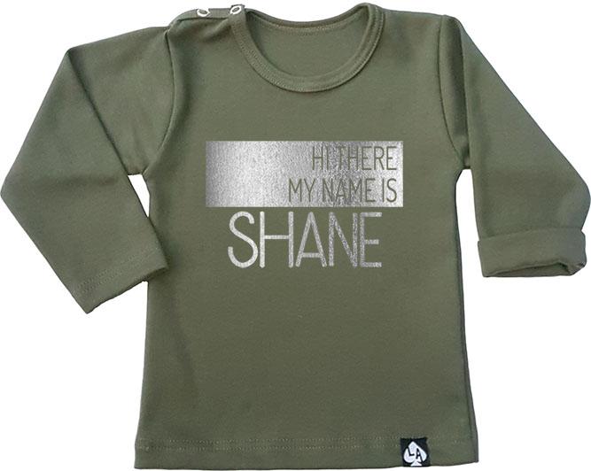 baby tshirt groen custom naam