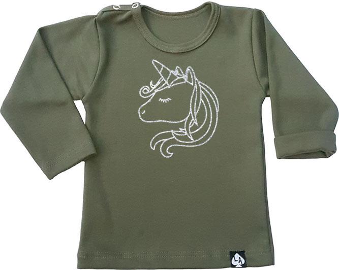 baby tshirt groen lange mouw eenhoorn