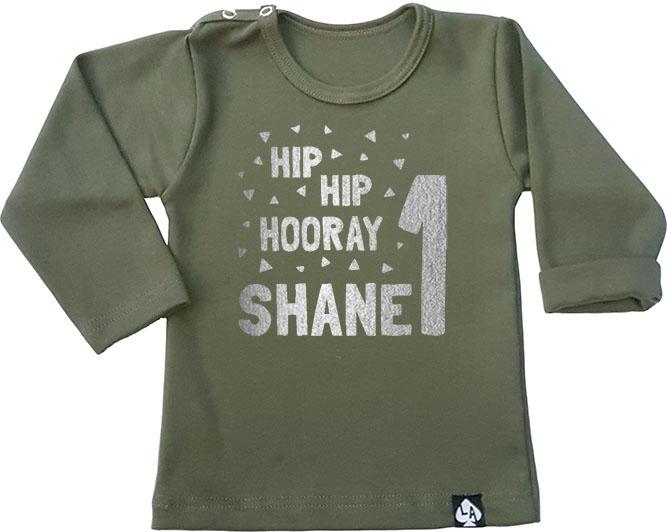 baby tshirt khaki lange mouw birthday