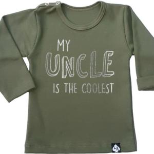 baby tshirt khaki lange mouwen leukste oom