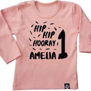 baby tshirt lange mouw roze verjaardag