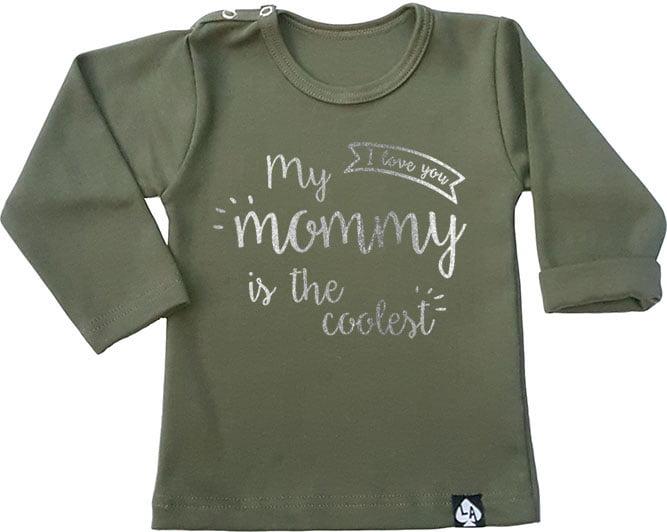 baby tshirt mama cool khaki
