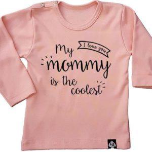baby tshirt mama cool roze