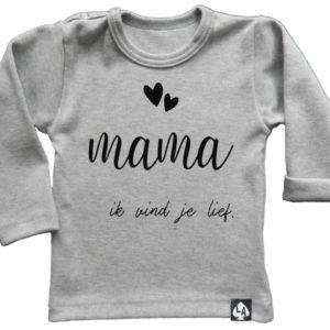 baby tshirt mama lange mouw grijs