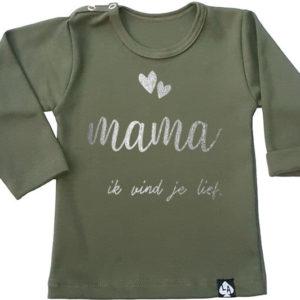 baby tshirt mama lange mouw khaki
