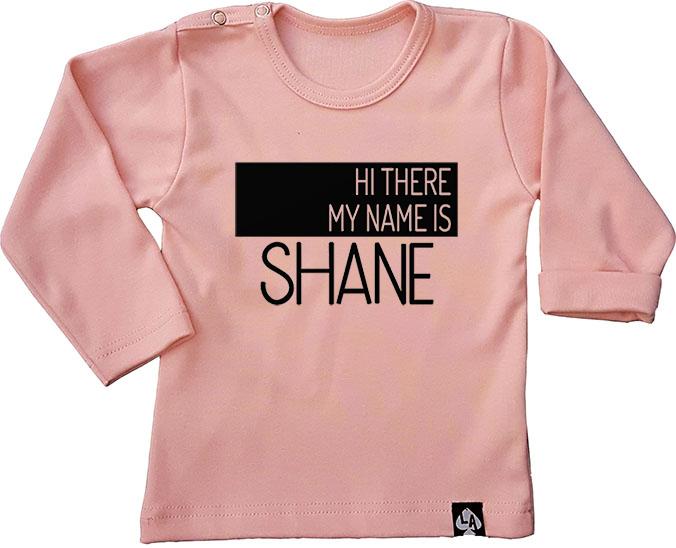 baby tshirt roze custom naam