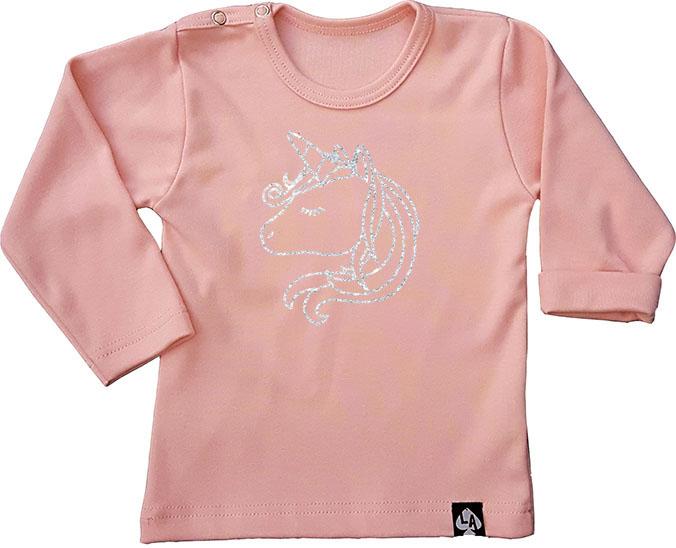 baby tshirt roze lange mouw eenhoorn