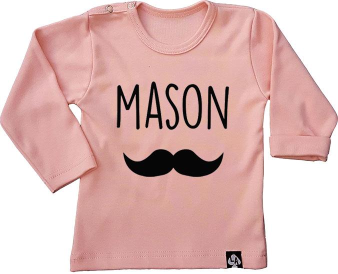 baby tshirt roze lange mouw naam