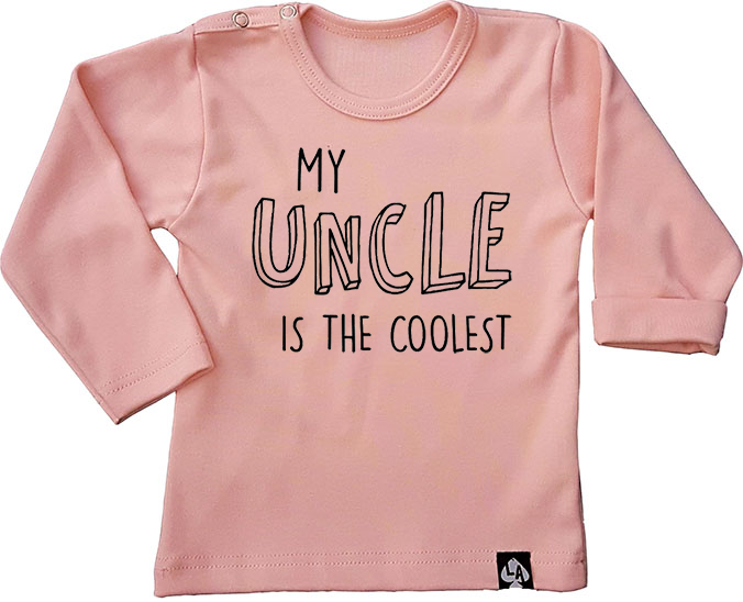 baby tshirt roze lange mouwen leukste oom