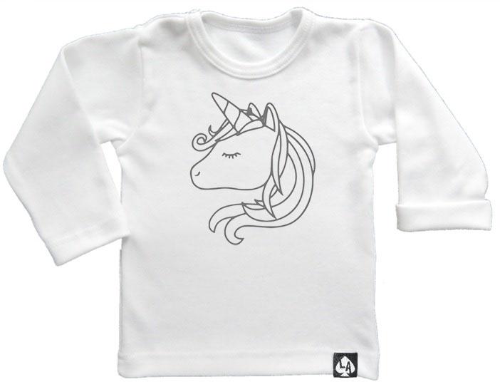 baby tshirt wit lange mouw eenhoorn