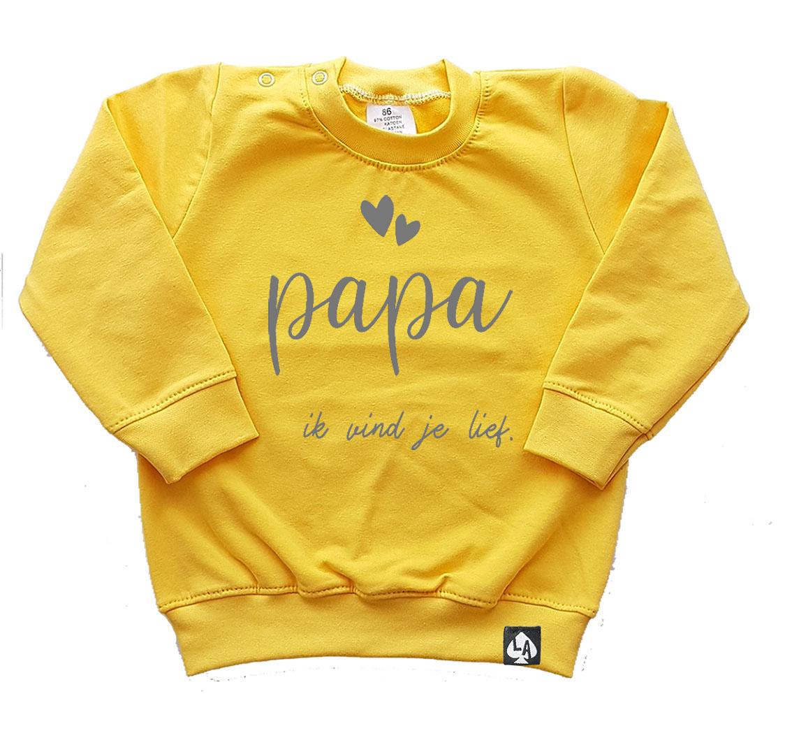 baby sweater geel papa