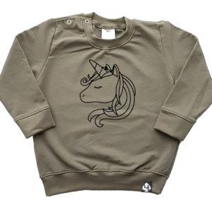 baby sweater khaki eenhoorn