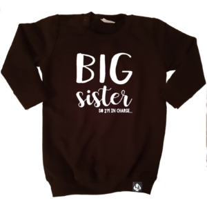 baby sweaterjurk big sister zwart