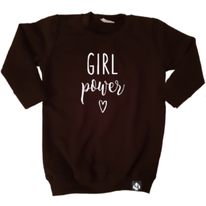 baby sweaterjurk girl power zwart