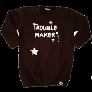 baby sweaterjurk trouble maker zwart