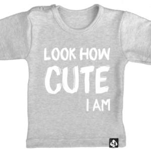 baby tshirt grijs korte mouw cute