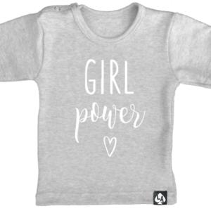 baby tshirt grijs korte mouw girl power