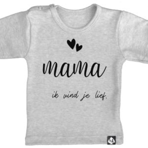 baby tshirt grijs korte mouw mama