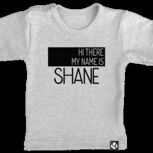 baby tshirt grijs korte mouw naamshirt