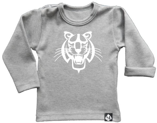 baby tshirt grijs lange mouw tijger
