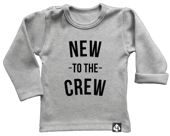 baby tshirt grijs new to the crew