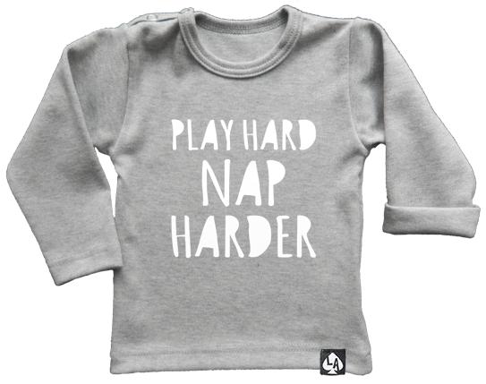 baby tshirt grijs play hard