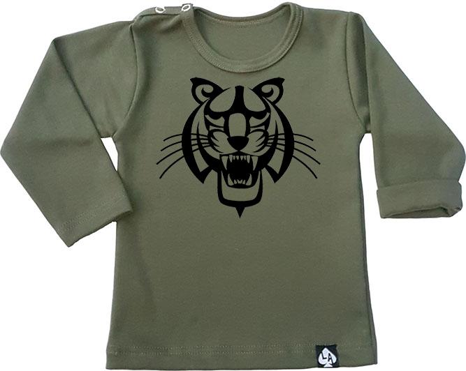 baby tshirt groen lange mouw tijger