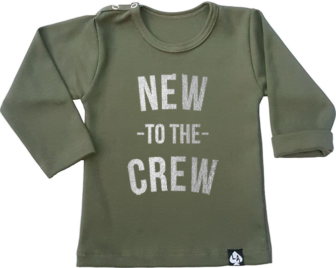 baby tshirt groen new to the crew