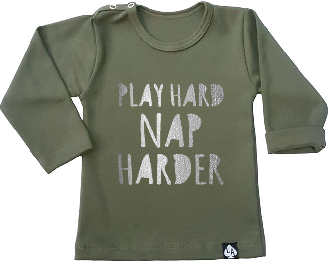 baby tshirt groen play hard