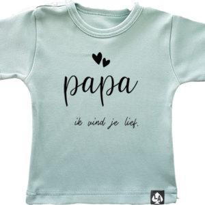 baby tshirt korte mouw mintgroen papa