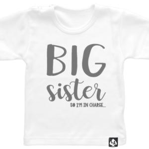baby tshirt korte mouw wit big sister