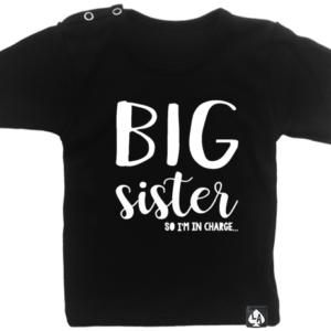 baby tshirt korte mouw zwart big sister