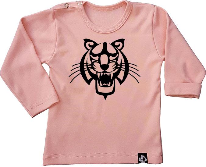 baby tshirt roze lange mouw tijger