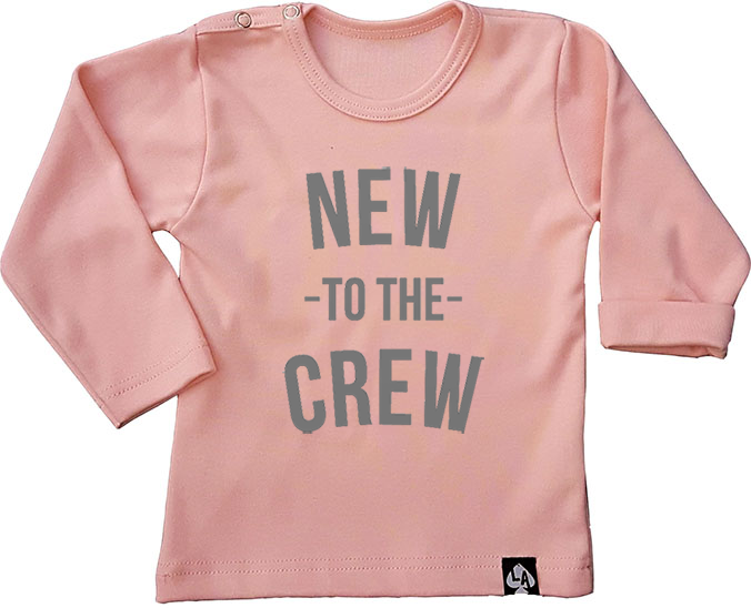 baby tshirt roze new to the crew