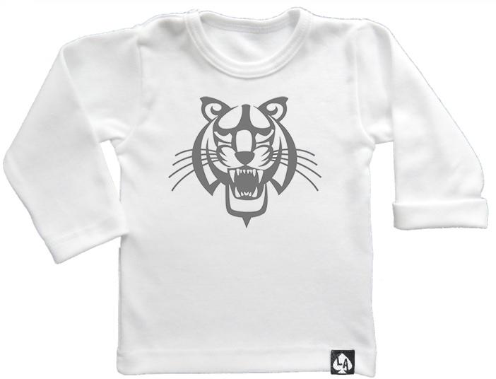 baby tshirt wit lange mouw tijger