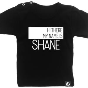 baby tshirt zwart korte mouw naamshirt