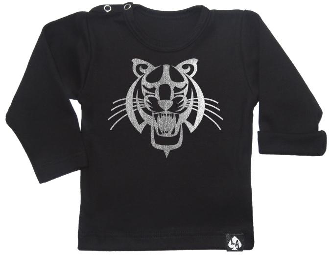 baby tshirt zwart lange mouw tijger