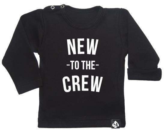 baby tshirt zwart new to the crew