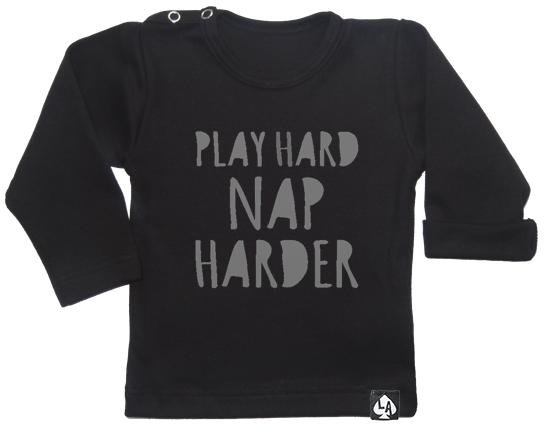 baby tshirt zwart play hard
