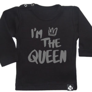 baby tshirt specials im the queen zwart